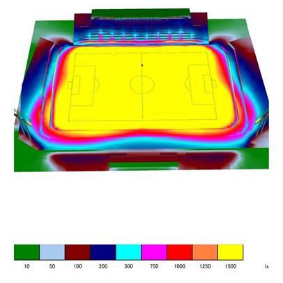 サッカー場照度分布図