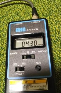 紫外線強度計での測定値